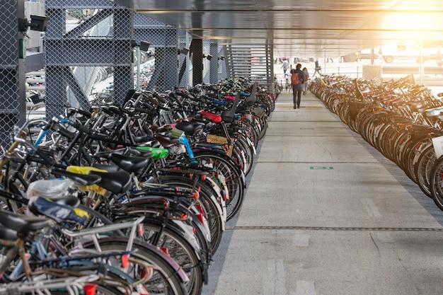 건강한 생활. 네덜란드 암스테르담의 자전거 주차장