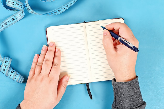 Healthy lifestyle concept with notepad