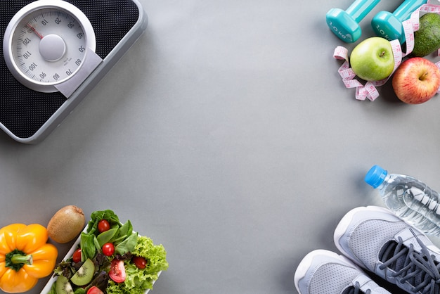 Healthy lifestyle elements on grey