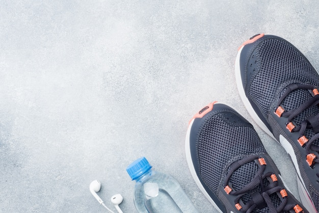 Healthy lifestyle, food and water, athlete's equipment
