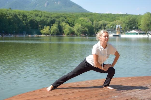 Healthy lifestyle. girl doing yoga asana