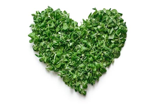 健康的な生活様式。写真中央にほうれん草の葉のハート。新鮮なサラダの葉