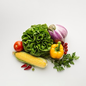 Healthy lifestyle meal on white background