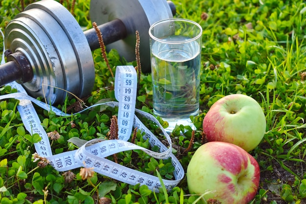 Healthy lifestyle objects near water