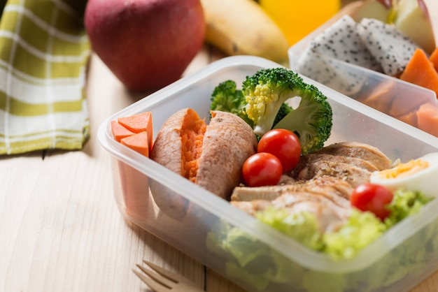 Healthy lunch boxes in plastic package