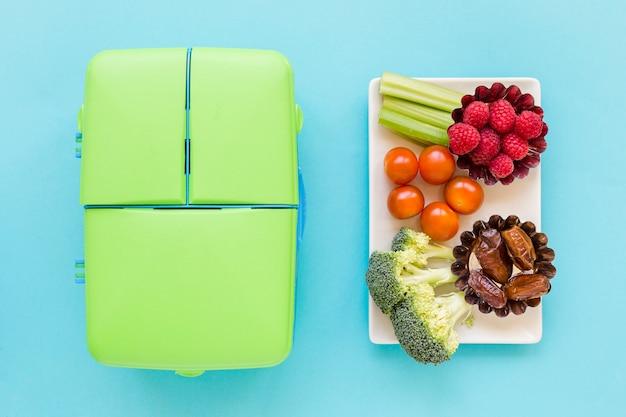 Healthy lunch food near lunchbox