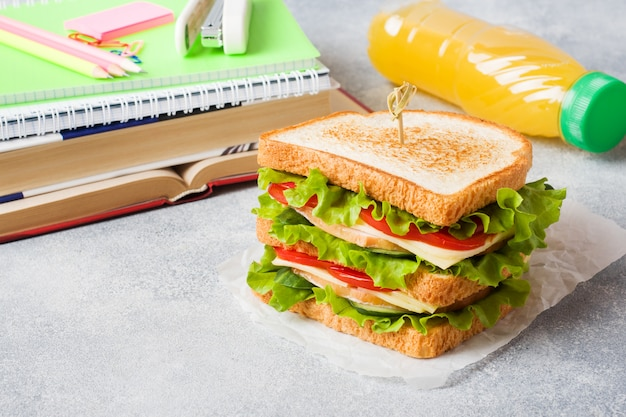Healthy lunch for school with sandwich, fresh apple and orange juice.
