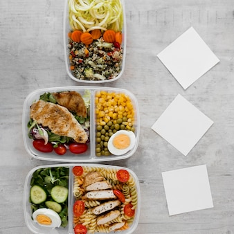 Healthy meal in containers arrangement