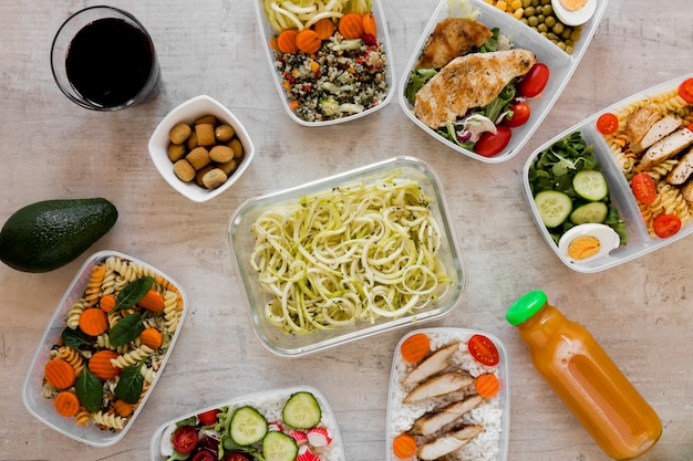 Healthy meal in containers assortment