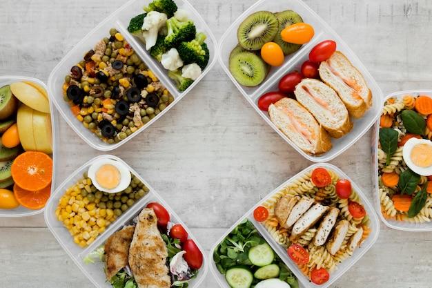 Healthy meal food arrangement