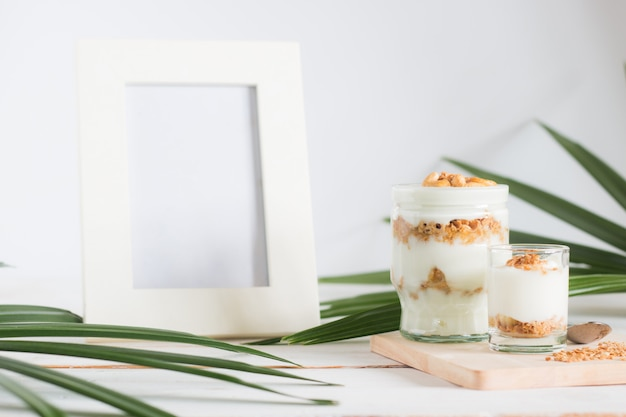 Healthy meal made of granola in glass