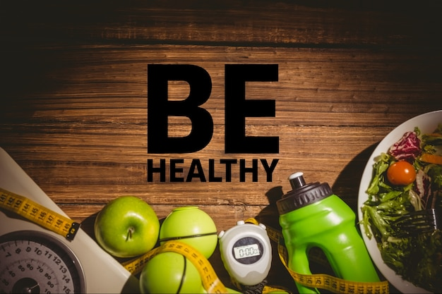Healthy message with wooden background