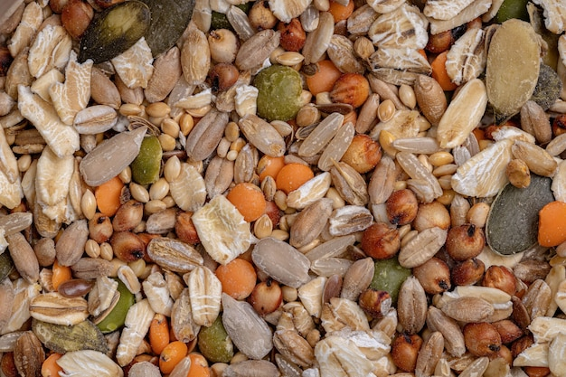 ハムスター、ラット、鳥などの動物のためのさまざまな種子の健康的な混合
