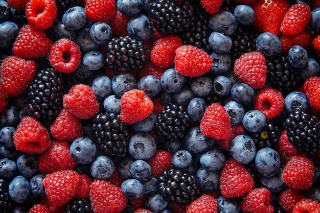 健康的なミックスフルーツとトップビューからの食材
