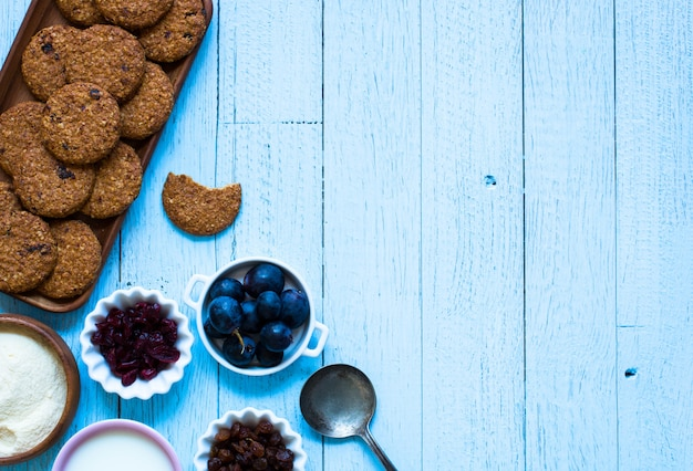 Healthy morning breakfast with cereal biscuits background