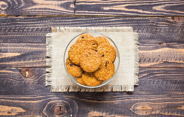 Healthy morning breakfast with cereal biscuits
