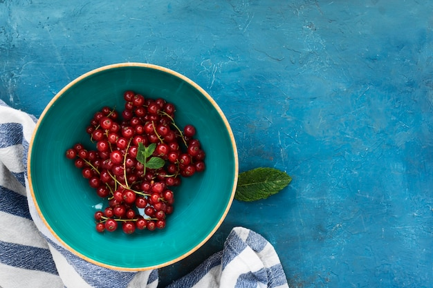 Healthy morning food bowl of cranberries