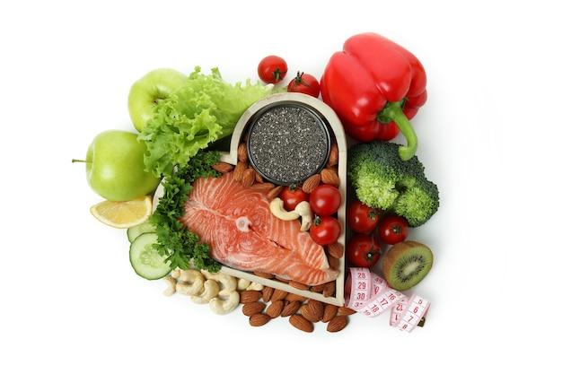 白い背景で隔離の健康的な栄養アクセサリー