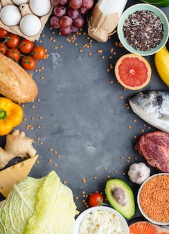 Healthy nutrition concept. balanced healthy diet food background.