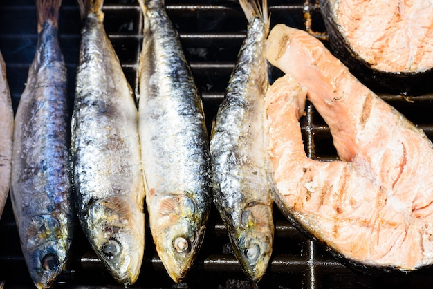 Healthy omega-3 proteins and fats from sardines and barbecued salmon