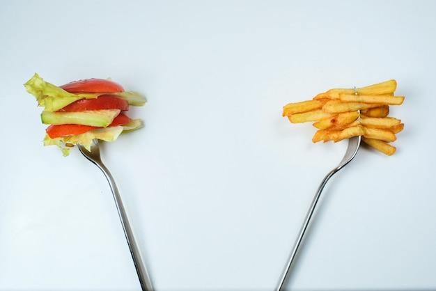 健康的またはジャンクフードの選択