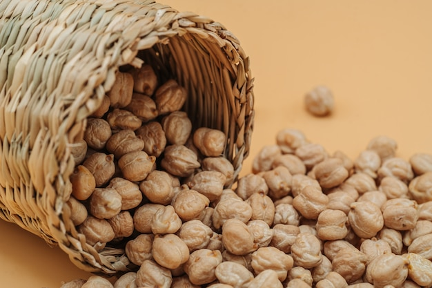 Healthy organic dried chickpeas in a straw basket