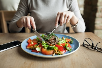 Healthy people salad food woman