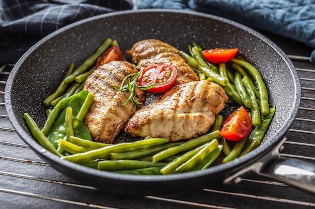 Здоровый рецепт жареной курицы, зеленых овощей и помидоров на темной сковороде с антипригарным покрытием на металлической решетке и темном фоне.