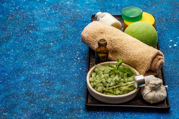 Healthy ritual of taking care of yourself. natural cosmetics, spa set