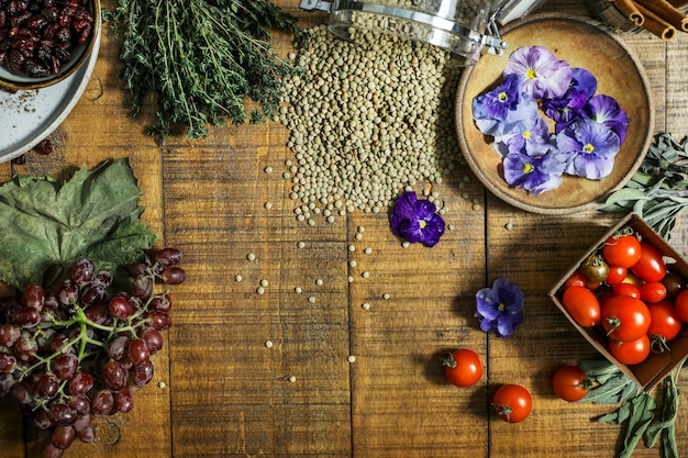 Healthy rustic ingredients