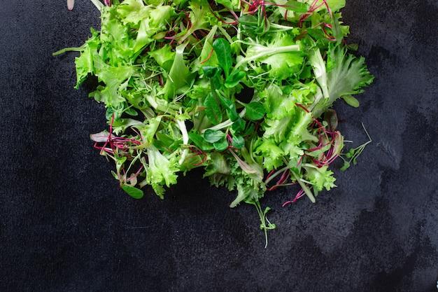 Healthy salad, leaves mix salad mix micro greens, juicy snack
