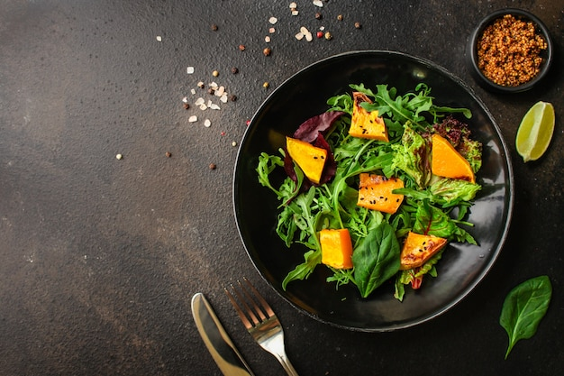 Healthy salad pumpkin and mix leaves  lettuce