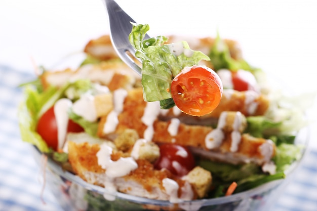 닭고기와 야채를 곁들인 건강 샐러드