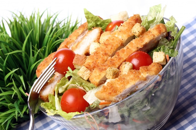 Healthy salad with chicken and vegetables