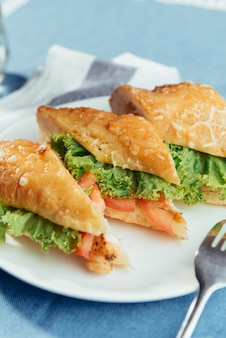 Healthy sandwich cut into pieces to show tasty ingredients salam