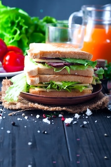 Healthy sandwich toast with lettuce,