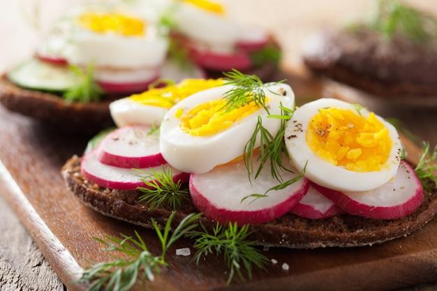 Healthy sandwich with egg radish cucumber