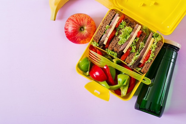 Healthy school lunch box with beef sandwich and fresh vegetables, bottle of water and fruits on pink background.