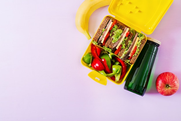 Healthy school lunch box with beef sandwich and fresh vegetables, bottle of water and fruits on pink background