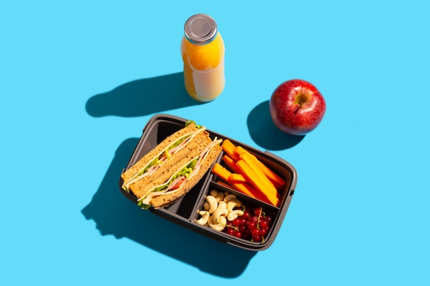 Healthy school lunch in a convenient container on a bright blue background.