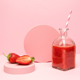 Healthy smoothie of strawberry