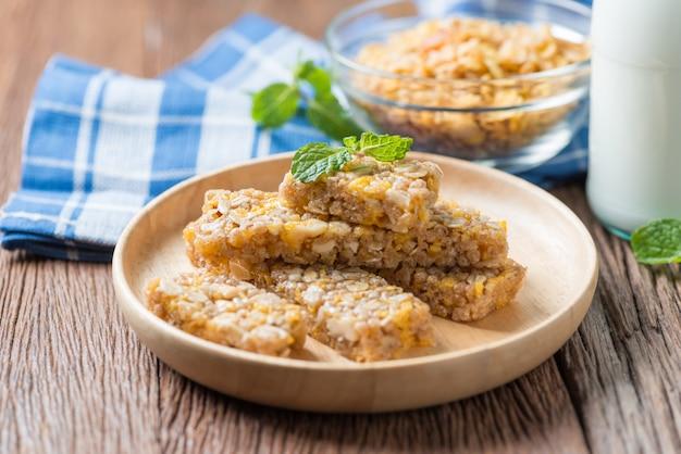 Healthy snack. cereal granola bars with nuts and garnola