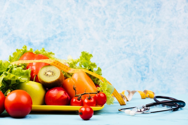 Healthy snack food with stethoscope