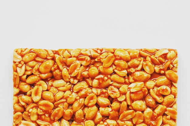 Healthy snacks. fitness diet food. kozinaki fritters made from roasted peanuts, energy bars.