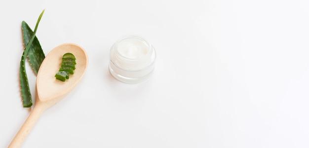 Healthy spa concept and cream with aloe vera copy space
