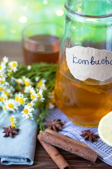 Healthy tea kombucha with lemon and cinnamon. recipe for homemade kombucha