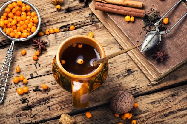 Healthy tea with sea-buckthorn