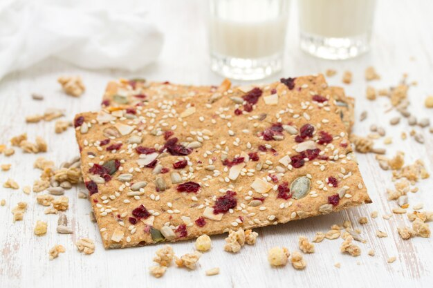 Healthy toast with dry fruits and seeds