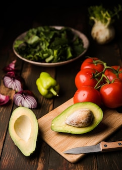 Healthy tomatoes and avocado high view