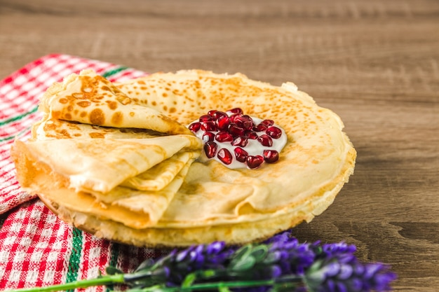 Healthy traditional pancakes from rice flour on wooden table. delicious healthy breackfast